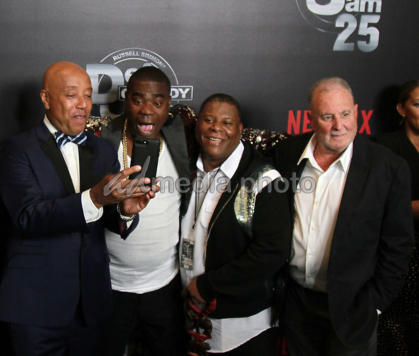 """10 September 2017 - Beverly Hills, California - Russell Simmons, Tracy Morgan, his brother, Ted Sarandos. Netflix """"Def Comedy Jam 25"""" held at The Beverly Hilton. Photo Credit: Theresa Bouche/AdMedia"""