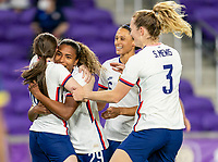 ORLANDO, FL - JANUARY 22: Catarina Macario #29 of the USWNT celebrates her first goal during a game between Colombia and USWNT at Exploria stadium on January 22, 2021 in Orlando, Florida.