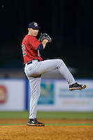 Elizabethton Twins relief pitcher Anthony Mciver (32) in action against the Kingsport Mets at Hunter Wright Stadium on July 8, 2015 in Kingsport, Tennessee.  The Mets defeated the Twins 8-2. (Brian Westerholt/Four Seam Images)
