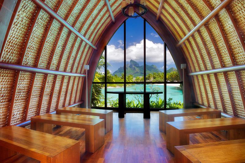 Four Seasons Chapel framing Mt Otemanu. Bora Bora. French Polynesia