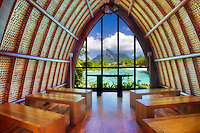Four Seasons Chapel framing Mt Otemanu. Bora Bora. French Polynesia
