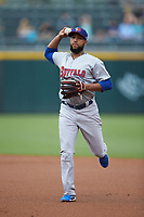 Buffalo Bisons second baseman Richard Urena (16) makes a throw to first base against the Caballeros de Charlotte at BB&T BallPark on July 23, 2019 in Charlotte, North Carolina. The Bisons defeated the Caballeros 8-1. (Brian Westerholt/Four Seam Images)