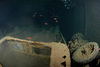 trucks carried as cargo inside the hold of the shipwreck Thistelgorm, she sunk on 6th October 1941 off coast of Egypt, Gulf of Suez, Red Sea