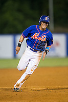 Luis Ortega (24) of the Kingsport Mets hustles towards third base against the Elizabethton Twins at Hunter Wright Stadium on July 8, 2015 in Kingsport, Tennessee.  The Mets defeated the Twins 8-2. (Brian Westerholt/Four Seam Images)