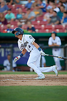 Kane County Cougars shortstop Ryan Dobson (4) grounds out during a game against the West Michigan Whitecaps on July 19, 2018 at Northwestern Medicine Field in Geneva, Illinois.  Kane County defeated West Michigan 8-5.  (Mike Janes/Four Seam Images)