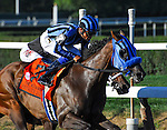 September 27, 2014: Private Zone (7, black and blue cap), ridden by Martin Pedroza, wins the Vosburgh Stakes on Jockey Club Gold Cup Day at Belmont Park Race Track in Elmont, New York. John Voorhees/ESW/CSM