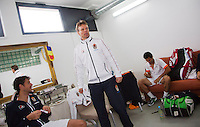 06-04-13, Tennis, Rumania, Brasov, Daviscup, Rumania-Netherlands,Dutch captain Jan Siemerink in thedressing room