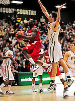 21 January 2010: Stony Brook University Seawolves' guard Chris Martin, a Junior from Springfield Gardens, NY, goes for a lay-up against the University of Vermont Catamounts at Patrick Gymnasium in Burlington, Vermont. The Catamounts fell to the Seawolves 65-60 in the America East matchup. Mandatory Credit: Ed Wolfstein Photo