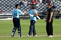 Aron Nijjar (L) and Shane Snater celebrate victory for Essex during Gloucestershire vs Essex Eagles, Royal London One-Day Cup Cricket at the Bristol County Ground on 3rd August 2021