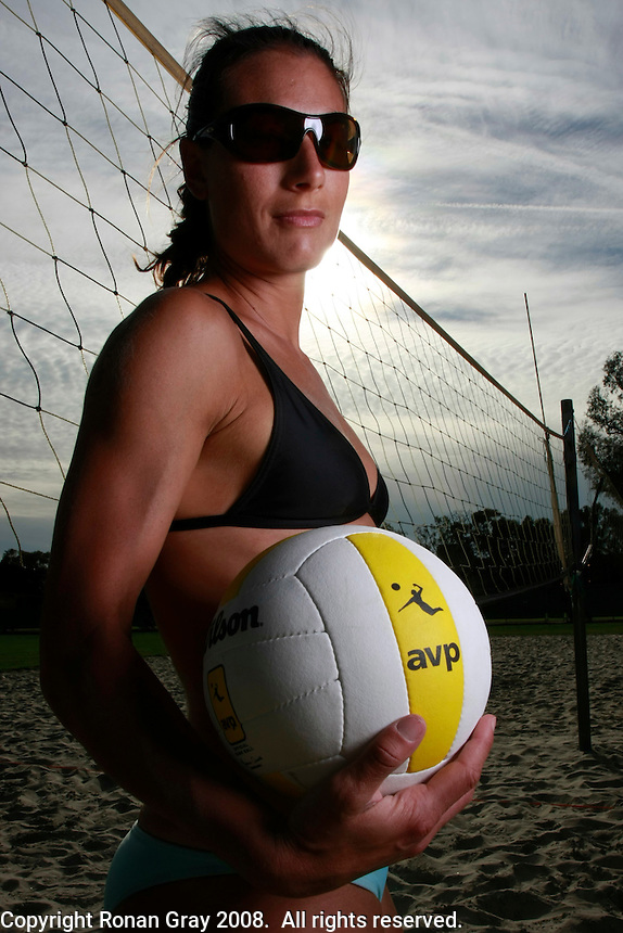 06March2008: California State University Long Beach - Long Beach, CA.  AVP pro volleyball player Angie Akers poses for a portrait.