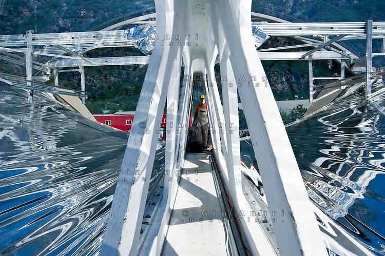 Airlight Energy, collettore  solare (parabolico lineare),cavità interna
