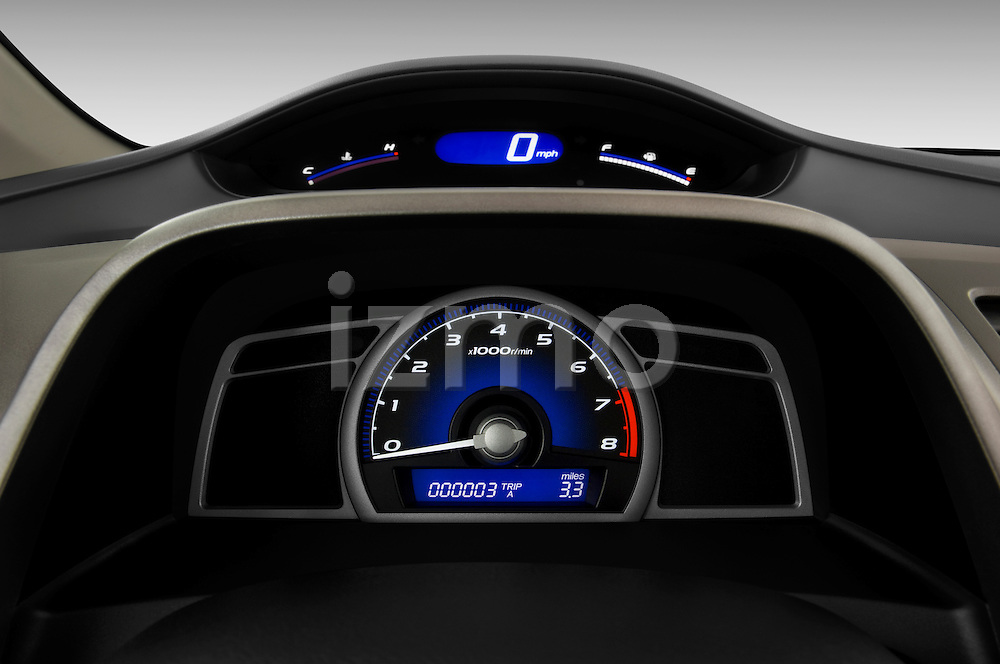 Instrument panel close up detail view of a 2009 Honda Civic Coupe EX
