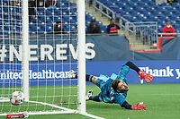 FOXBOROUGH, MA - MAY 1: Matt Turner #30 of New England Revolution is not able to stop a penalty goal during a game between Atlanta United FC and New England Revolution at Gillette Stadium on May 1, 2021 in Foxborough, Massachusetts.