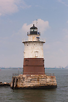 Robbins Reef Lighthouse, located in Upper New York Bay, near the entrance to Kill Van Kull