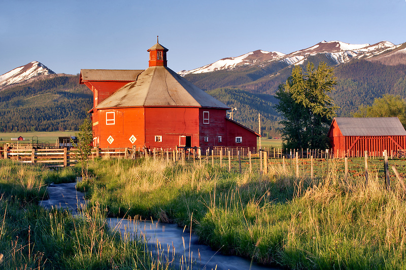 Farmland near Joseph with barn and stream. Oregon