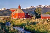 Farmland near Joseph with barn and stream. Oregon