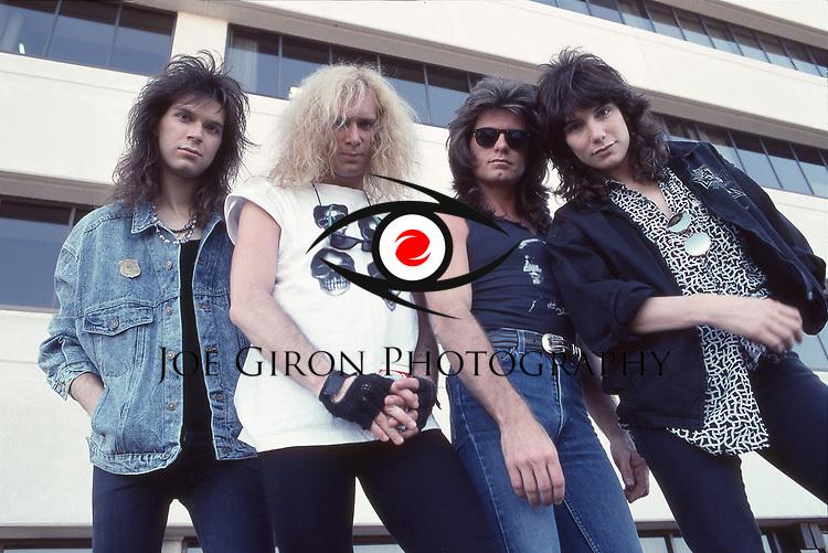 MR BIG - L-R: Paul Gilbert, Billy Sheehan, Pat Torpey, Eric Martin - photosession in Los Angeles Ca USA - 11 Apr 1989.  Photo credit: Joe Giron/IconicPix