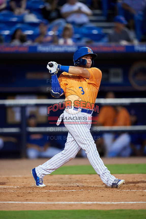St. Lucie Mets second baseman Blake Tiberi (3) hits a foul ball and breaks his bat during a game against the Daytona Tortugas on August 3, 2018 at First Data Field in Port St. Lucie, Florida.  Daytona defeated St. Lucie 3-2.  (Mike Janes/Four Seam Images)