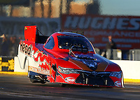 Feb 4, 2016; Chandler, AZ, USA; NHRA funny car driver Chad Head experiences tire shake during pre season testing at Wild Horse Pass Motorsports Park. Mandatory Credit: Mark J. Rebilas-USA TODAY Sports