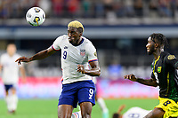 DALLAS, TX - JULY 25: Gyasi Zardes #9 of the United States gets ready to head the ball towards the Jamaica goal during a game between Jamaica and USMNT at AT&T Stadium on July 25, 2021 in Dallas, Texas.