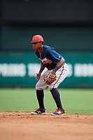 Atlanta Braves Braulio Vasquez (14) during a Florida Instructional League game against the Canadian Junior National Team on October 9, 2018 at the ESPN Wide World of Sports Complex in Orlando, Florida.  (Mike Janes/Four Seam Images)