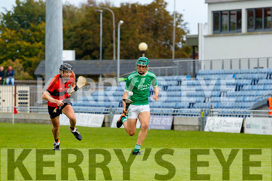 Jimmy O'Halloran, Ballyheigue, in action against Dylan Moriarty, Ballyduff, during the Kerry County Minor Hurling Championship Final match between Ballyduff and Ballyheigue at Austin Stack Park in Tralee, Kerry.