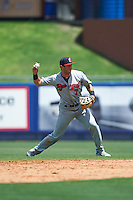 Brevard County Manatees second baseman George Iskenderian (7) throws to first during a game against the St. Lucie Mets on April 17, 2016 at Tradition Field in Port St. Lucie, Florida.  Brevard County defeated St. Lucie 13-0.  (Mike Janes/Four Seam Images)