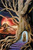 Interlitho, Luis, FANTASY, paintings, magician, tree, vulcano, KL, KL3693,#fantasy# illustrations, pinturas