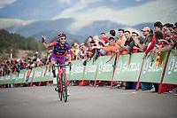 Óscar Cabedo (ESP/Burgos-BH) encouraging the crowd to cheer louder in the race finale towards the finish (at almost 2000m alt.)<br /> <br /> Stage 5: L'Eliana to Observatorio Astrofísico de Javalambre (171km)<br /> La Vuelta 2019<br /> <br /> ©kramon