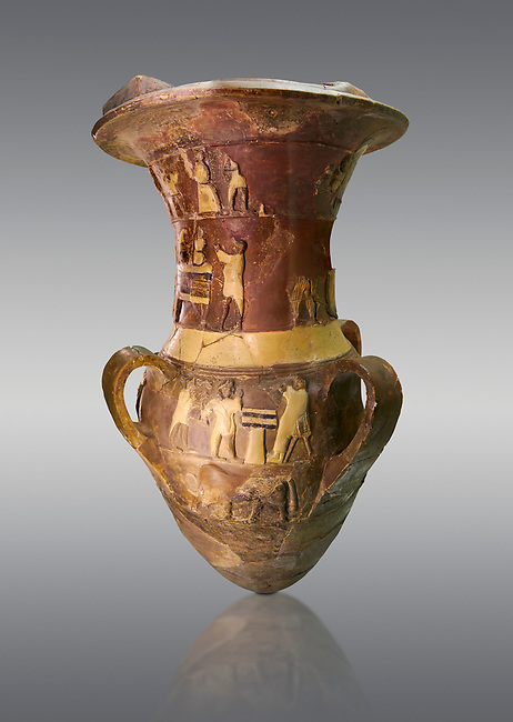 Hüseyindede vases, Old Hittite Polychrome Relief vessel depicting a procession of musicians and dancers, ox wagon, bulls and sacrificial altar, 16th century BC.  Huseyindede . Çorum Archaeological Museum, Corum, Turkey