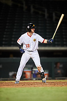 Mesa Solar Sox Gavin Collins (12), of the Cleveland Indians organization, at bat during an Arizona Fall League game against the Peoria Javelinas on September 21, 2019 at Sloan Park in Mesa, Arizona. Mesa defeated Peoria 4-1. (Zachary Lucy/Four Seam Images)