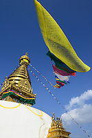 NEPAL Kathmandu, buddhist Swayambhu Stupa and prayer flags