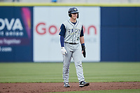 Kale Emshoff (21) of the Columbia Fireflies takes his lead off of second base against the Kannapolis Cannon Ballers at Atrium Health Ballpark on May 18, 2021 in Kannapolis, North Carolina. (Brian Westerholt/Four Seam Images)