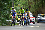 The early breakaway featuring Mauri Vansevenant (BEL) Deceuninck-Quick Step, Aaron Van Poucke (BEL) Sport Vlaanderen-Baloise, Mathijs Paaschens (NED) Bingoal WB and Marlon Gaillard (FRA) Total Direct Energie during La Fleche Wallonne 2020, running 202km from Herve to Mur de Huy, Belgium. 30th September 2020.<br /> Picture: ASO/Gautier Demouveaux | Cyclefile<br /> All photos usage must carry mandatory copyright credit (© Cyclefile | ASO/Gautier Demouveaux)