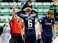 20th February 2021; Easter Road, Edinburgh, Scotland; Scottish Premiership Football, Hibernian versus Hamilton Academical; Jamie Hamilton of Hamilton is shown the red card and sent off