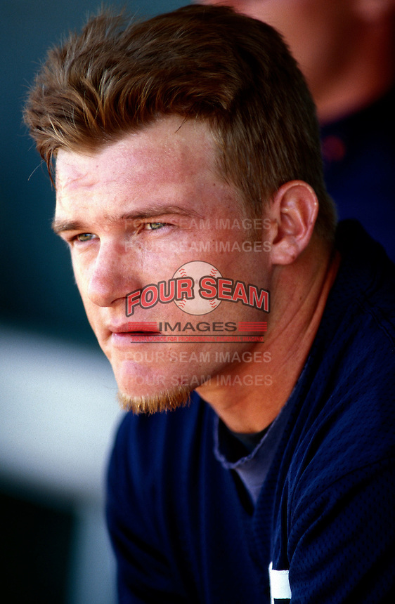 Mike Darr of the San Diego Padres participates in a Major League Baseball Spring Training game during the 1998 season in Phoenix, Arizona. (Larry Goren/Four Seam Images)