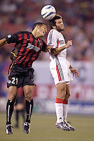 The MetroStars' Craig Ziadie goes up for a header against D.C. United's Ben Olsen. D.C. United defeated the MetroStars 1 to 0 in regular season MLS action on Saturday October 2, 2004 at Giant's Stadium, East Rutherford, NJ..