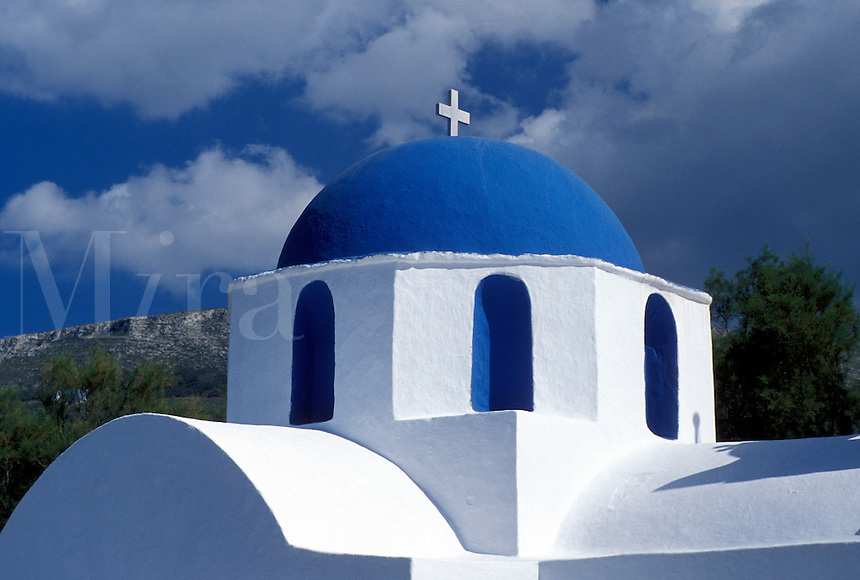 Paros, Greek Islands, Parikia, Cyclades, Greece, Europe, Small whitewashed chapel with blue dome in the town of Parikia on Paros Island on the Aegean Sea.