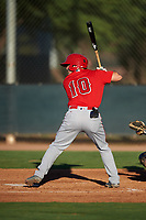 AZL Angels Justin Kunz (10) at bat during an Arizona League game against the AZL D-backs on July 20, 2019 at Salt River Fields at Talking Stick in Scottsdale, Arizona. The AZL Angels defeated the AZL D-backs 11-4. (Zachary Lucy/Four Seam Images)