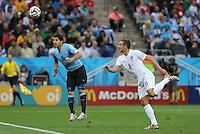 Luiz Suarez scores for Uruguay 1-0 after cross goes over Jagelka
