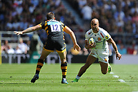 Olly Woodburn of Exeter Chiefs looks to sidestep Jimmy Gopperth of Wasps during the Premiership Rugby Final at Twickenham Stadium on Saturday 27th May 2017 (Photo by Rob Munro)