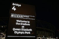 General view of the stadium signage ahead of West Ham United vs Burnley, Premier League Football at The London Stadium on 14th December 2016