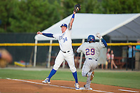 Burlington Royals first baseman Chris DeVito (34) stretches for a throw as Franklin Correa (29) hustles down the line at Burlington Athletic Stadium on July 18, 2016 in Burlington, North Carolina.  The Royals defeated the Mets 8-2.  (Brian Westerholt/Four Seam Images)