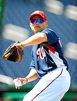 22 April 2010: Washington Nationals' catcher Ivan Rodriguez warms up prior to a game against the Colorado Rockies at Nationals Park in Washington, DC. The Nationals were shut out by the Rockies 2-0 to close out their series with a 2-2 game split. Mandatory Credit: Ed Wolfstein Photo