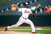 Bowie Baysox starting pitcher David Richardson (55) during the second game of a doubleheader against the Akron RubberDucks on June 5, 2016 at Prince George's Stadium in Bowie, Maryland.  Bowie defeated Akron 12-7.  (Mike Janes/Four Seam Images)