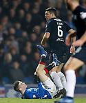 27.02.2019: Rangers v Dundee: Ryan Kent flattened by Darren O'Dea