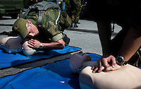 Norwegian Home Guard soldiers perform first aid training during exercise Djerv..The Home Guard has traditionally been designated to secure important  domestic installations in case of war or crisis. With the cold war long gone, a war in Afghanistan and budget cuts, there is a debate over the Home Guard's role in the future.