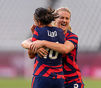 KASHIMA, JAPAN - AUGUST 5: Carli Lloyd #10 of the USWNT celebrates her goal with Lindsey Horan #9 during a game between Australia and USWNT at Kashima Soccer Stadium on August 5, 2021 in Kashima, Japan.