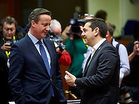 Pictured L-R: British Prime Minister David Cameron with his Greek counterpart Alexis Tsipras Thursday 18 February 2016<br /> Re: David Cameron looks set to secure European Union deal on Britain's reforms during a summit in Brussels, Belgium.