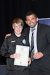 St Johnstone FC Youth Academy Presentation Night at Perth Concert Hall..21.04.14<br /> Callum Davidson presents to Thomas Gray<br /> Picture by Graeme Hart.<br /> Copyright Perthshire Picture Agency<br /> Tel: 01738 623350  Mobile: 07990 594431